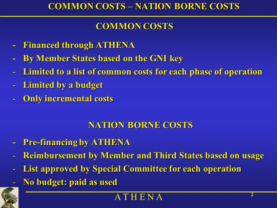 A T H E N A 2 COMMON COSTS – NATION BORNE COSTS COMMON COSTS - Financed through ATHENA -By Member States based on the GNI key -Limited to a list of co