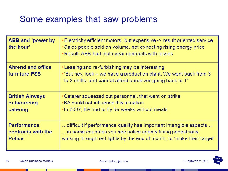 Arnold.tukker@tno.nl 3 September 2010Green business models10 Some examples that saw problems ABB and power by the hour Electricity efficient motors, b