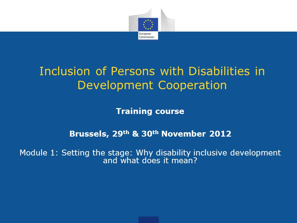 Inclusion of Persons with Disabilities in Development Cooperation Training course Brussels, 29 th & 30 th November 2012 Module 1: Setting the stage: Why disability inclusive development and what does it mean