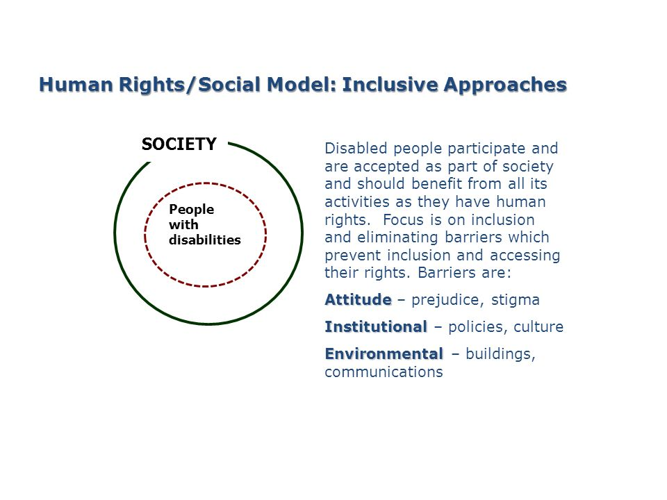 Human Rights/Social Model: Inclusive Approaches People with disabilities Disabled people participate and are accepted as part of society and should benefit from all its activities as they have human rights.