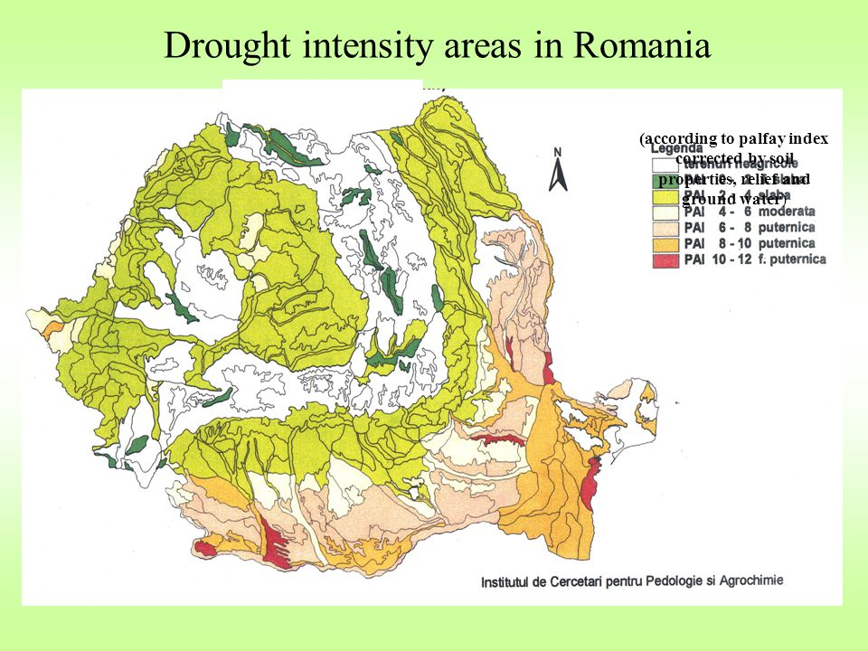 Drought intensity areas in Romania (according to palfay index corrected by soil properties, relief and ground water)