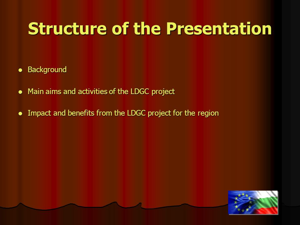 Structure of the Presentation Background Background Main aims and activities of the LDGC project Main aims and activities of the LDGC project Impact a