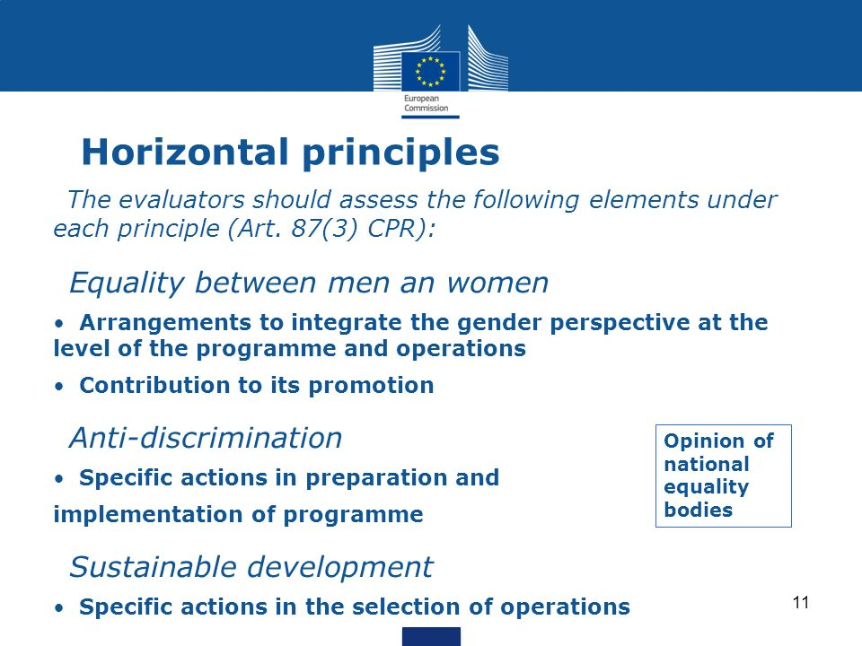 Horizontal principles The evaluators should assess the following elements under each principle (Art. 87(3) CPR): Equality between men an women Arrange