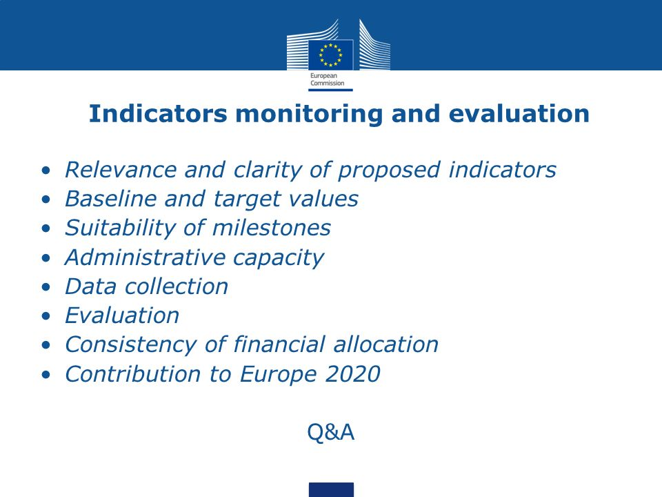 Indicators monitoring and evaluation Relevance and clarity of proposed indicators Baseline and target values Suitability of milestones Administrative