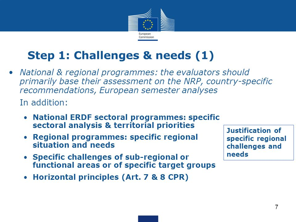7 Step 1: Challenges & needs (1) National & regional programmes: the evaluators should primarily base their assessment on the NRP, country-specific re