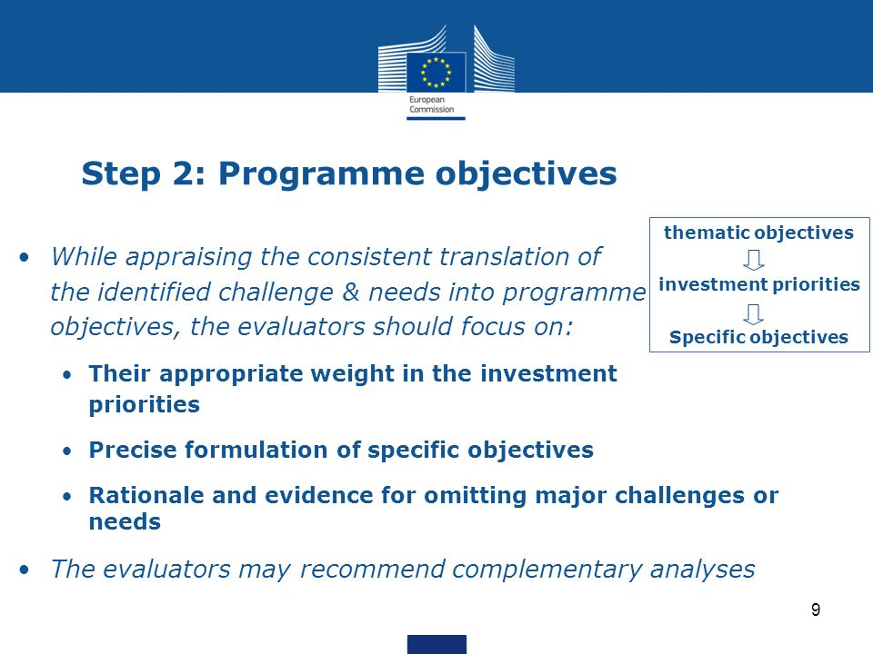 9 Step 2: Programme objectives While appraising the consistent translation of the identified challenge & needs into programme objectives, the evaluato