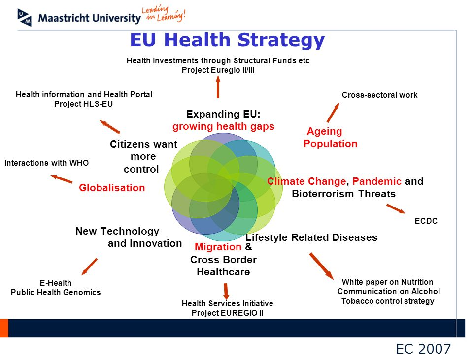EU Health Strategy White paper on Nutrition Communication on Alcohol Tobacco control strategy Health information and Health Portal Project HLS-EU ECDC