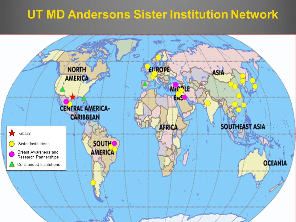 Co-Branded Institutions Sister Institutions Breast Awareness and Research Partnerships MDACC UT MD Andersons Sister Institution Network