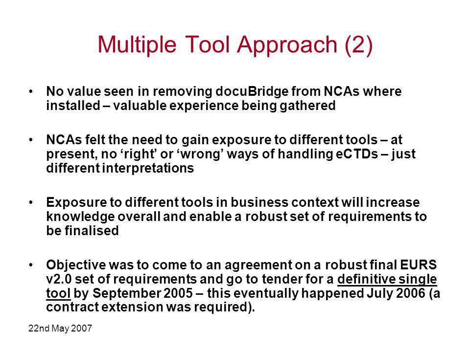 22nd May 2007 Multiple Tool Approach (2) No value seen in removing docuBridge from NCAs where installed – valuable experience being gathered NCAs felt the need to gain exposure to different tools – at present, no right or wrong ways of handling eCTDs – just different interpretations Exposure to different tools in business context will increase knowledge overall and enable a robust set of requirements to be finalised Objective was to come to an agreement on a robust final EURS v2.0 set of requirements and go to tender for a definitive single tool by September 2005 – this eventually happened July 2006 (a contract extension was required).