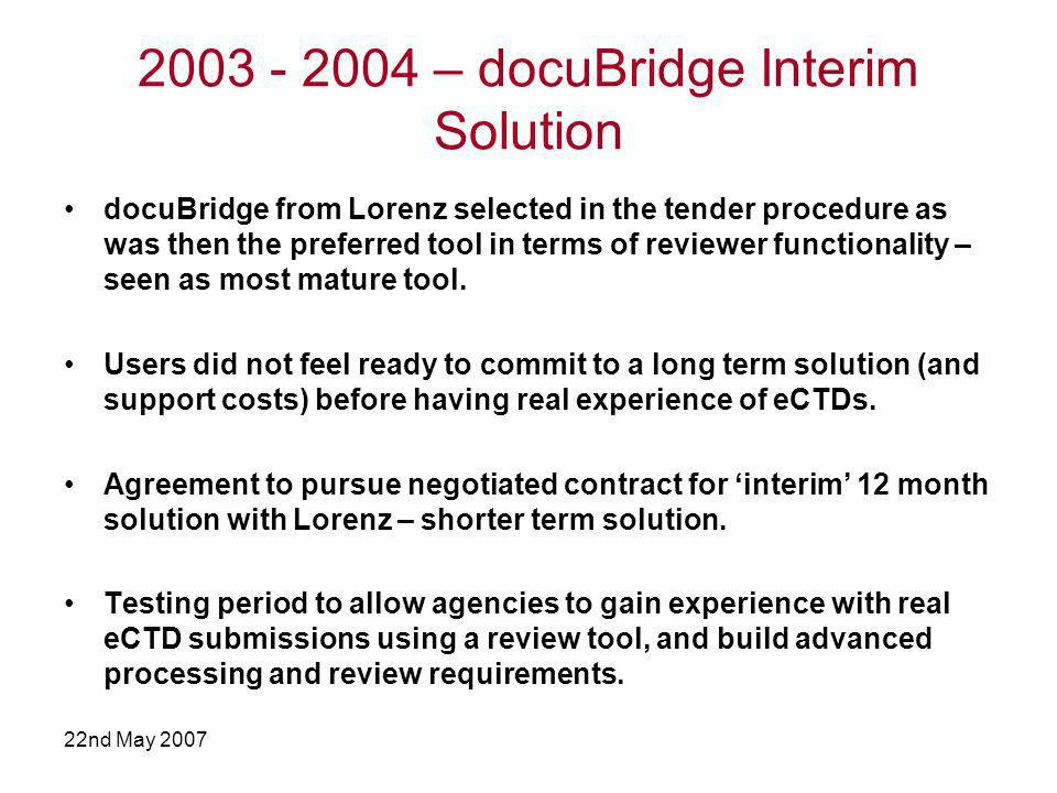 22nd May 2007 Multiple Tool Approach (1) October 2004: A decision was taken by the EURS Group to continue with the installations and testing of docuBridge, for another year, but to make available to all NCAs 2 additional review tools: –eCTDXpress from ISI –EURS is Yours from IABG