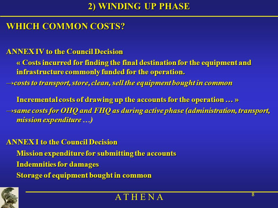 A T H E N A 8 2) WINDING UP PHASE WHICH COMMON COSTS? ANNEX IV to the Council Decision « Costs incurred for finding the final destination for the equi