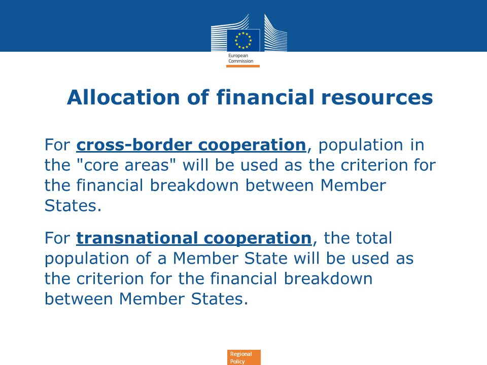 Regional Policy Allocation of financial resources For cross-border cooperation, population in the