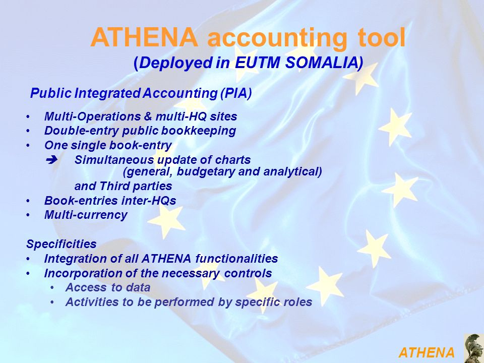 ATHENA Multi-Operations & multi-HQ sites Double-entry public bookkeeping One single book-entry Simultaneous update of charts (general, budgetary and a