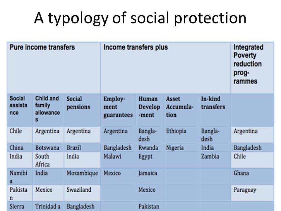 A typology of social protection