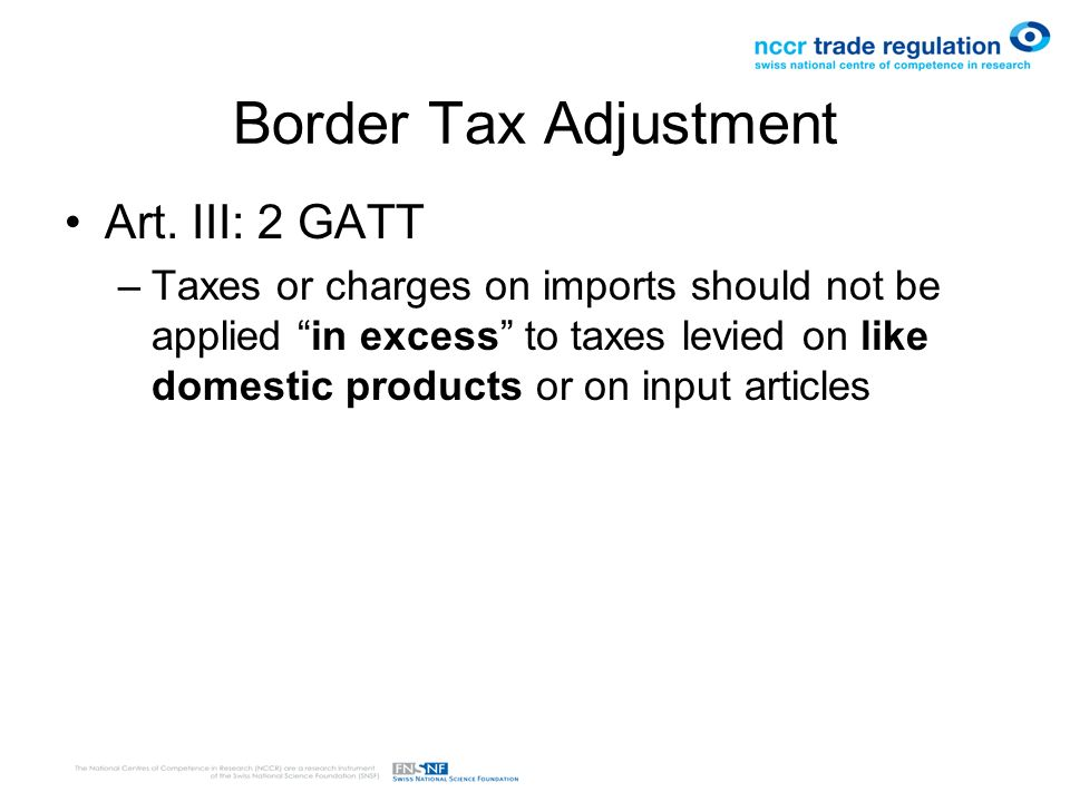 Border Tax Adjustment Art.