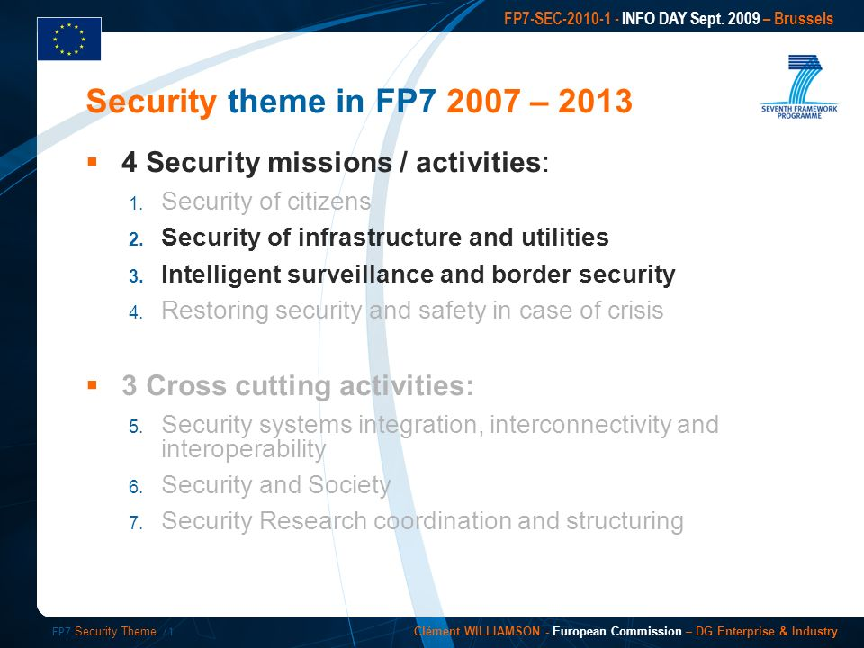 FP7 Security Theme /1 FP7-SEC INFO DAY Sept.