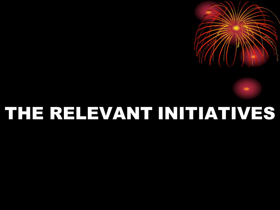 THE RELEVANT INITIATIVES