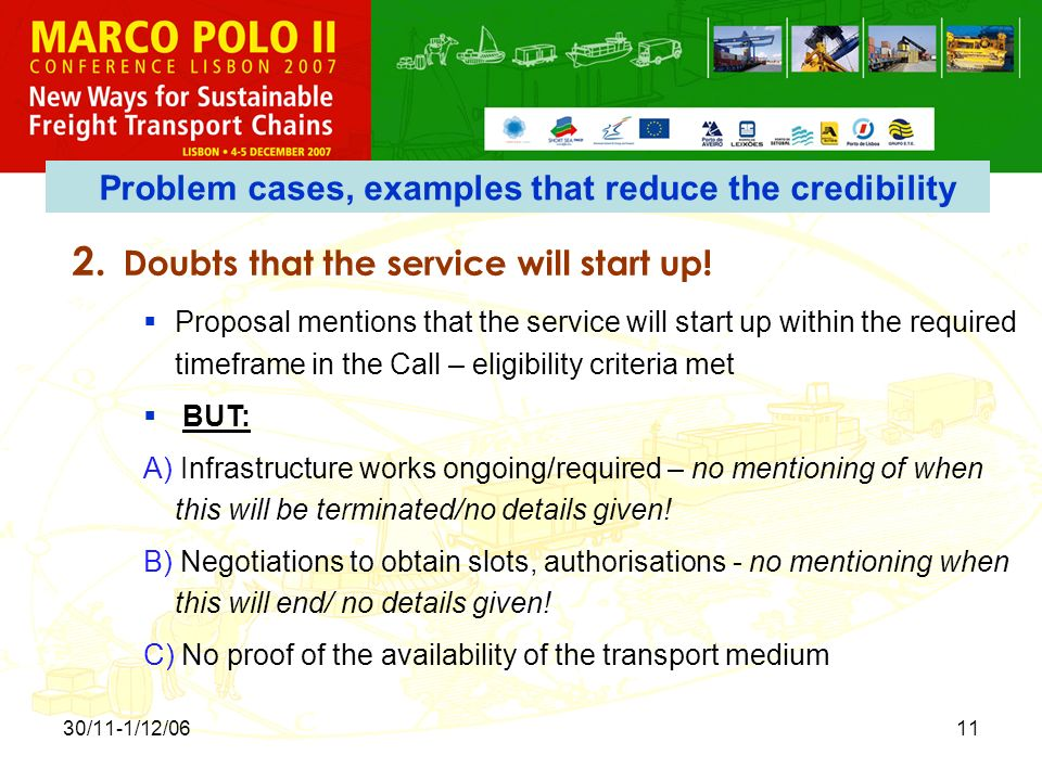 30/11-1/12/0611 2. Doubts that the service will start up.