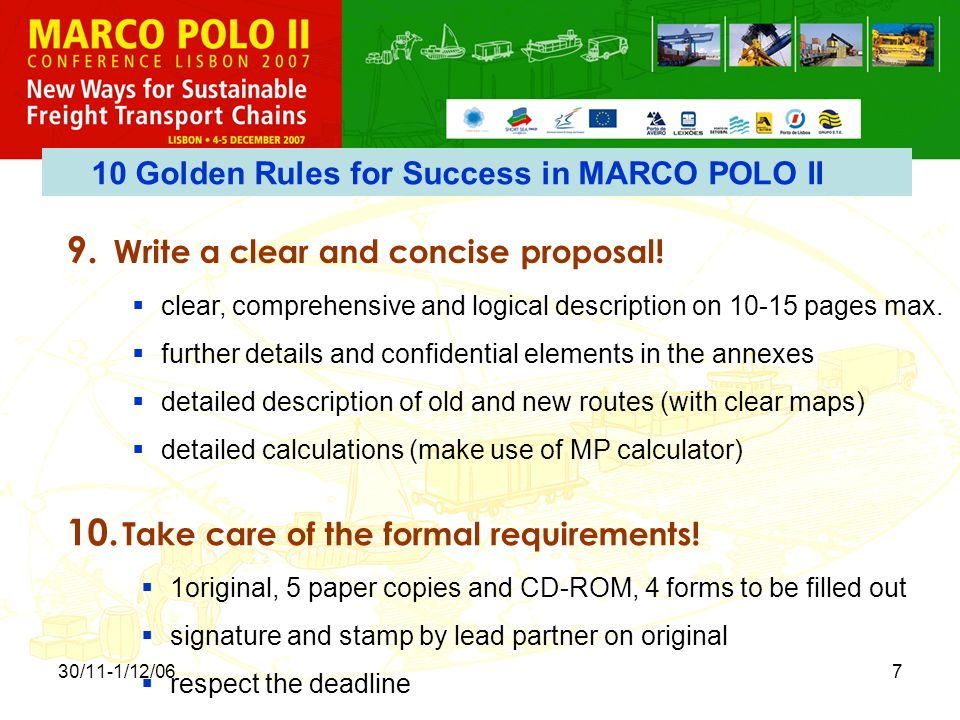 30/11-1/12/067 9. Write a clear and concise proposal.