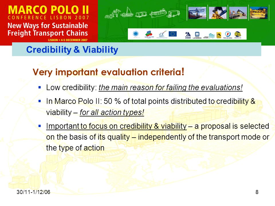 30/11-1/12/068 Very important evaluation criteria .