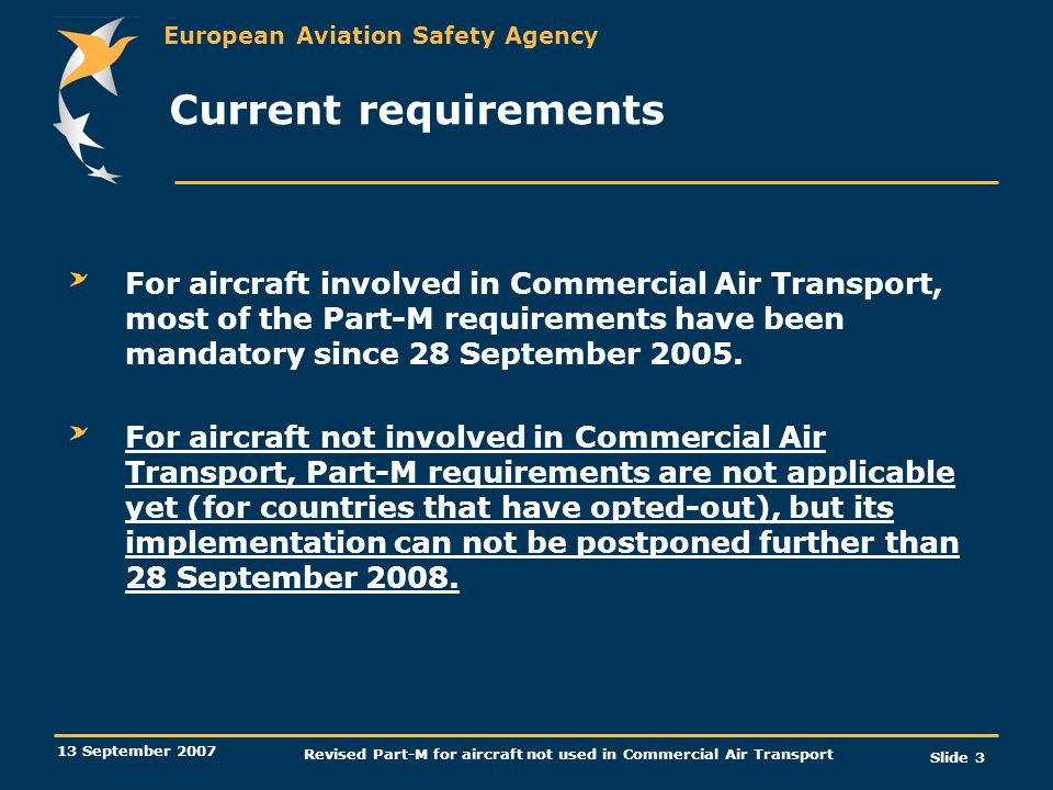 European Aviation Safety Agency 13 September 2007 Revised Part-M for aircraft not used in Commercial Air Transport Slide 3 Current requirements For ai