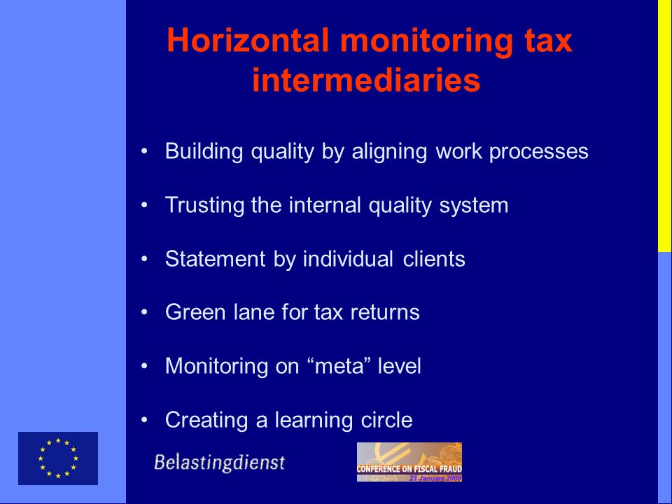 Horizontal monitoring tax intermediaries Building quality by aligning work processes Trusting the internal quality system Statement by individual clie