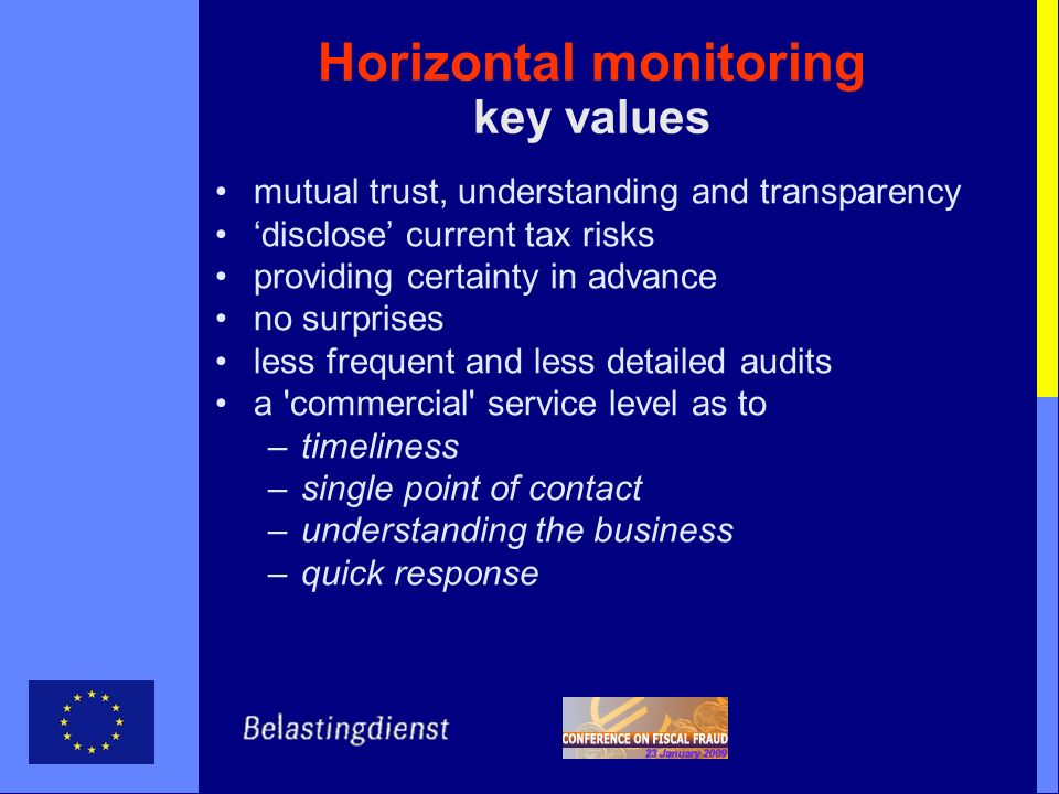 Horizontal monitoring key values mutual trust, understanding and transparency disclose current tax risks providing certainty in advance no surprises l