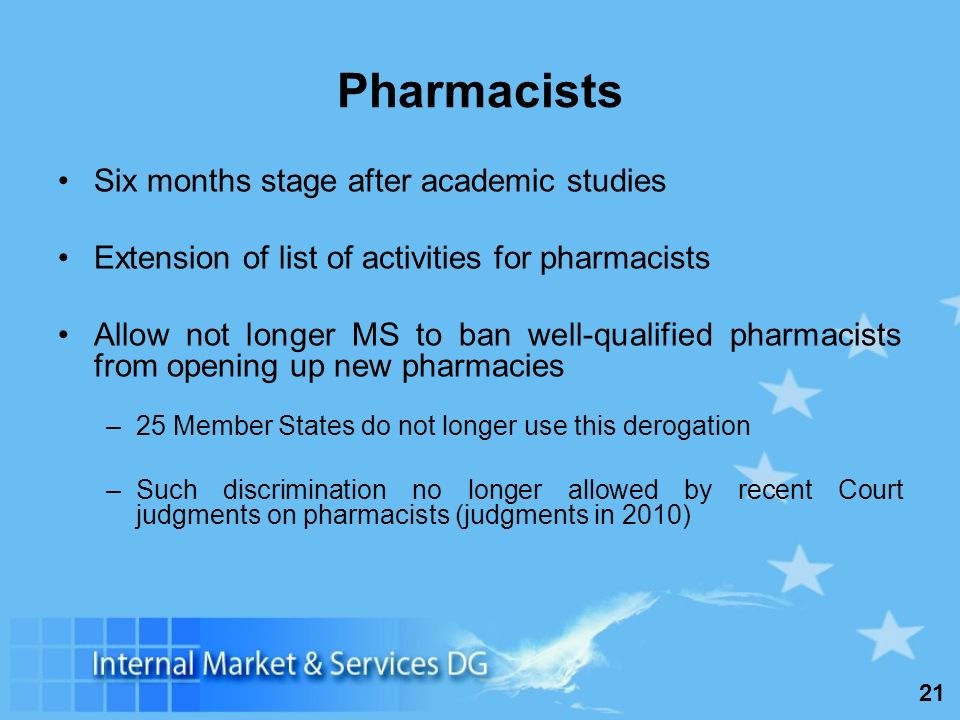 21 Pharmacists Six months stage after academic studies Extension of list of activities for pharmacists Allow not longer MS to ban well-qualified pharmacists from opening up new pharmacies –25 Member States do not longer use this derogation –Such discrimination no longer allowed by recent Court judgments on pharmacists (judgments in 2010)