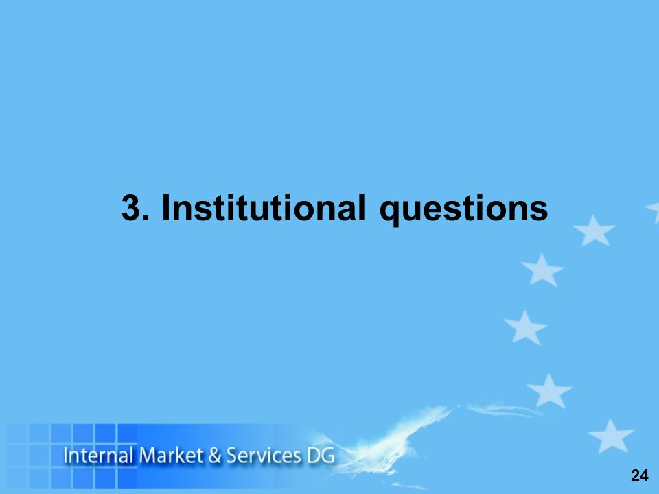 24 3. Institutional questions