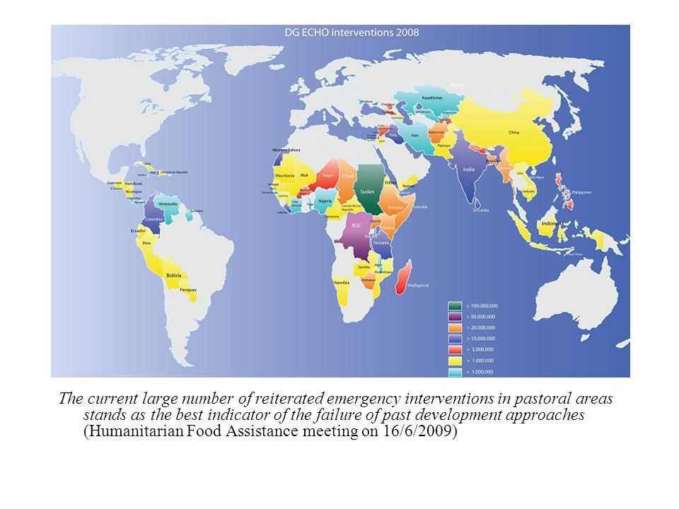 The current large number of reiterated emergency interventions in pastoral areas stands as the best indicator of the failure of past development approaches (Humanitarian Food Assistance meeting on 16/6/2009)