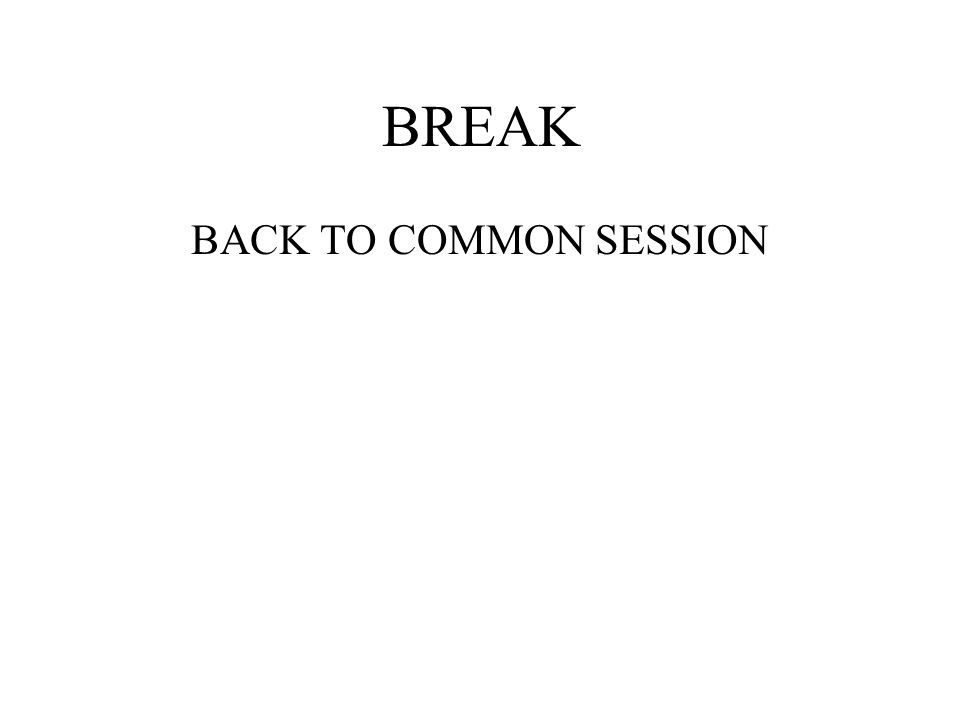 BREAK BACK TO COMMON SESSION