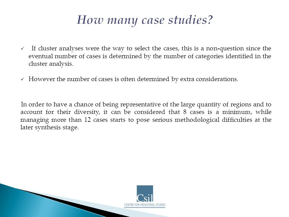 If cluster analyses were the way to select the cases, this is a non-question since the eventual number of cases is determined by the number of categories identified in the cluster analysis.