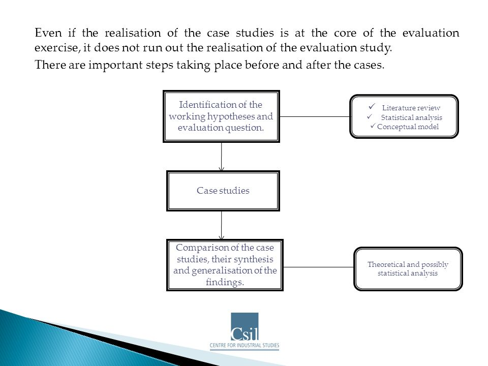 Even if the realisation of the case studies is at the core of the evaluation exercise, it does not run out the realisation of the evaluation study.