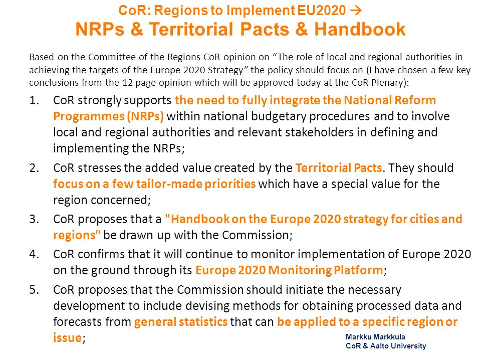 CoR: Regions to Implement EU2020 NRPs & Territorial Pacts & Handbook Based on the Committee of the Regions CoR opinion on The role of local and region