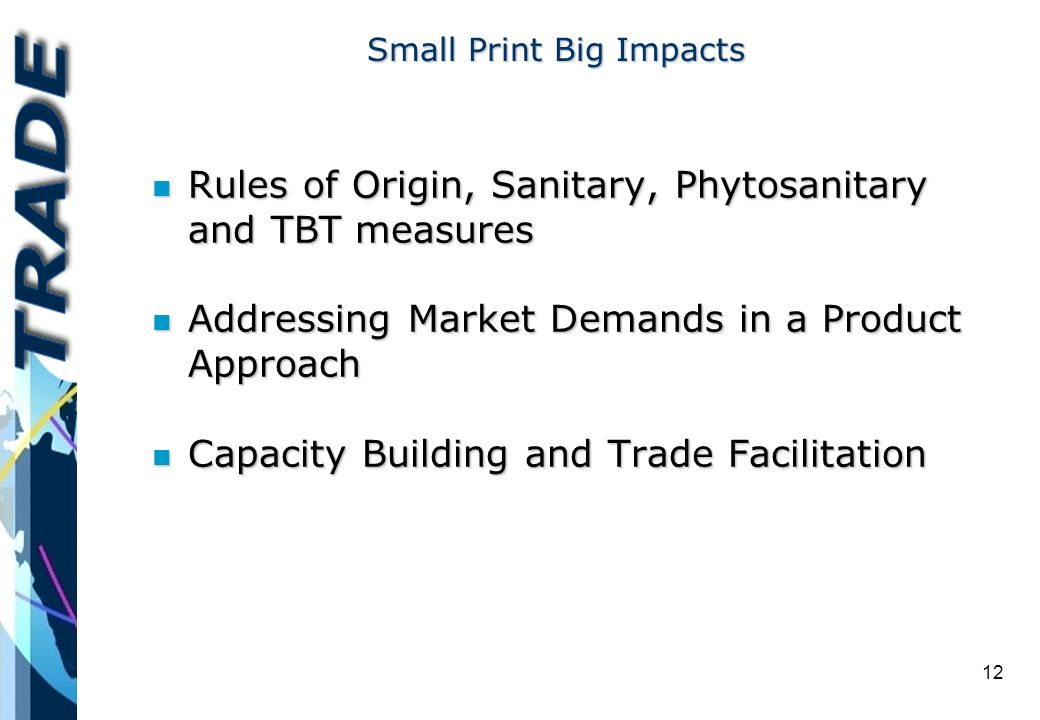 12 Small Print Big Impacts n Rules of Origin, Sanitary, Phytosanitary and TBT measures n Addressing Market Demands in a Product Approach n Capacity Building and Trade Facilitation