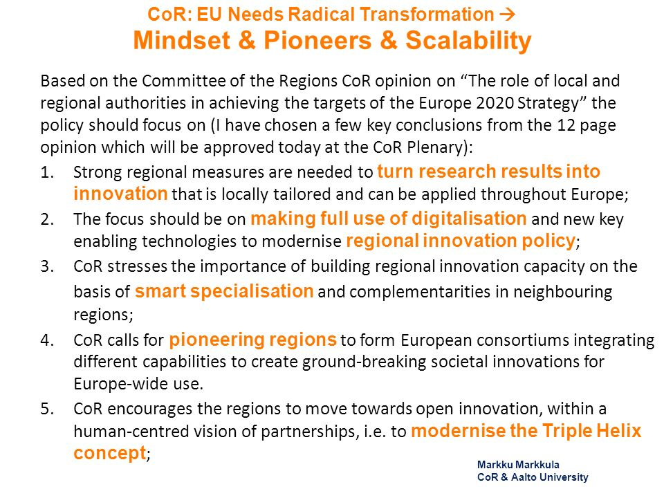 CoR: EU Needs Radical Transformation Mindset & Pioneers & Scalability Based on the Committee of the Regions CoR opinion on The role of local and regio