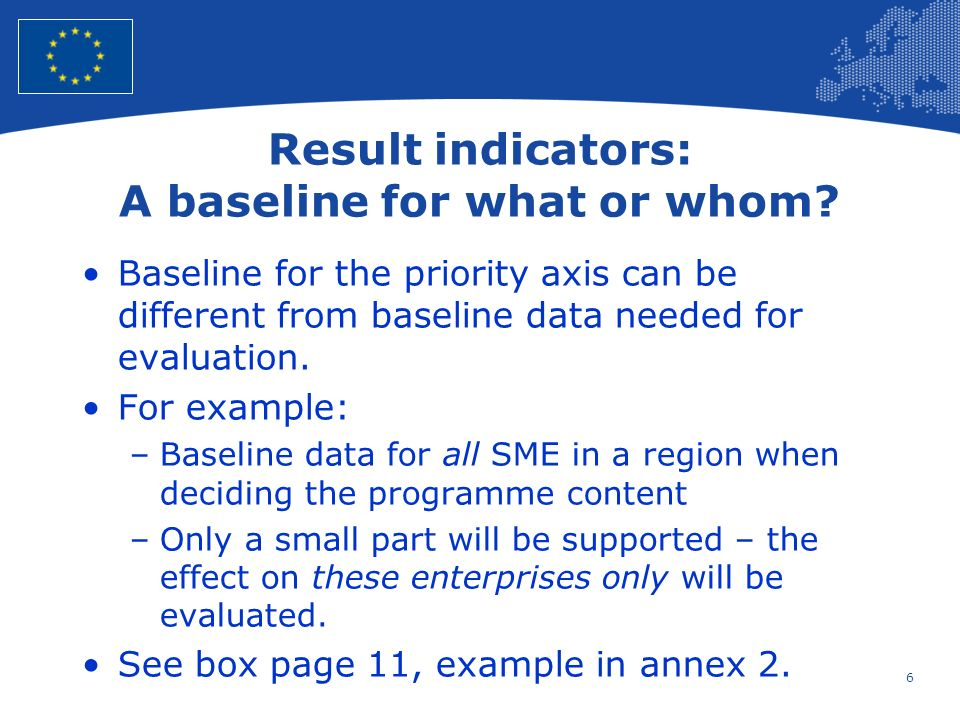 7 European Union Regional Policy – Employment, Social Affairs and Inclusion Targets for result indicators I Setting targets for result indicators is difficult.
