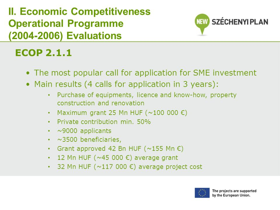 II. Economic Competitiveness Operational Programme (2004-2006) Evaluations ECOP 2.1.1 The most popular call for application for SME investment Main re