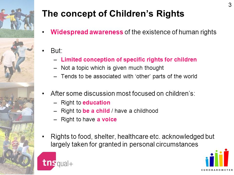 3 The concept of Childrens Rights Widespread awareness of the existence of human rights But: –Limited conception of specific rights for children –Not a topic which is given much thought –Tends to be associated with other parts of the world After some discussion most focused on childrens: –Right to education –Right to be a child / have a childhood –Right to have a voice Rights to food, shelter, healthcare etc.