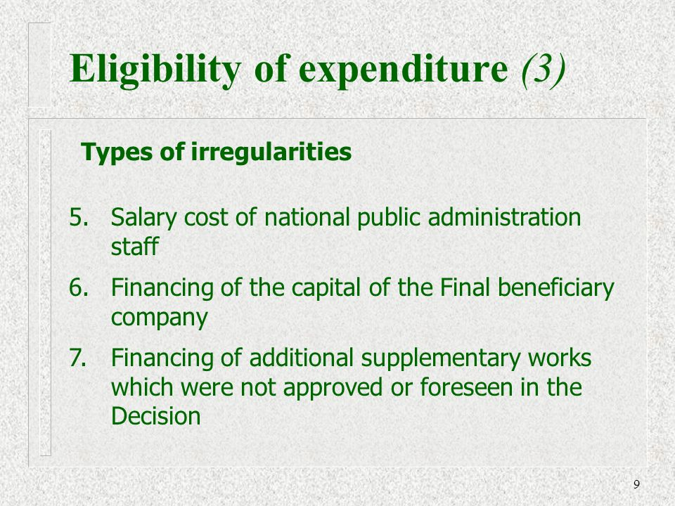 9 5. Salary cost of national public administration staff 6.