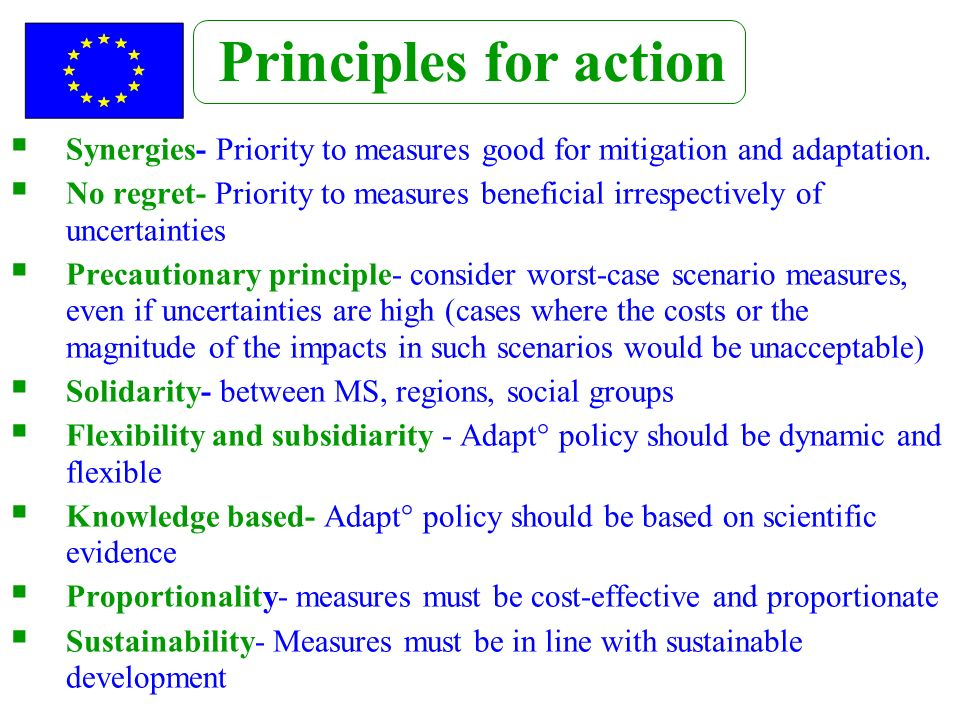Synergies- Priority to measures good for mitigation and adaptation. No regret- Priority to measures beneficial irrespectively of uncertainties Precaut