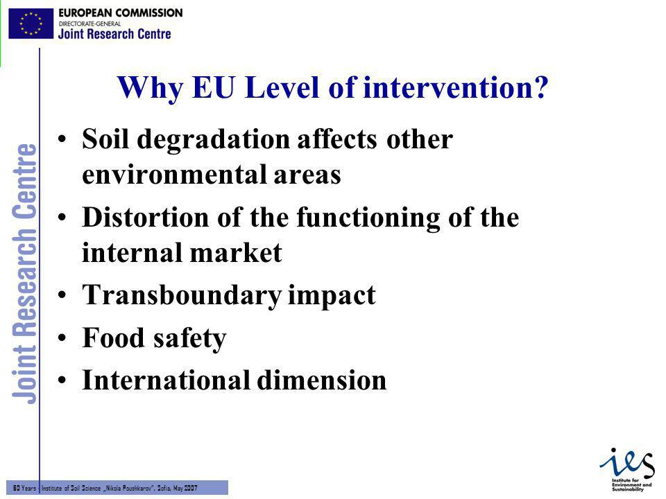 2 60 Years - Institute of Soil Science Nikola Poushkarov, Sofia, May 2007 Why EU Level of intervention? Soil degradation affects other environmental a