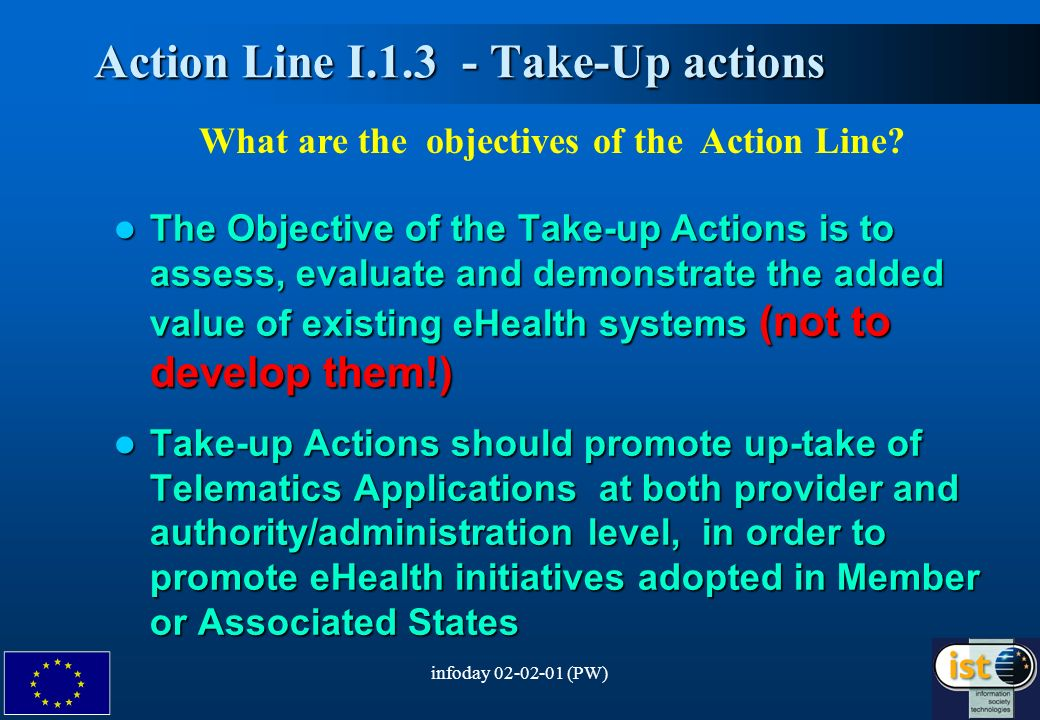 infoday 02-02-01 (PW)4 Action Line I.1.3 - Take-Up actions Action Line I.1.3 - Take-Up actions What are the objectives of the Action Line.