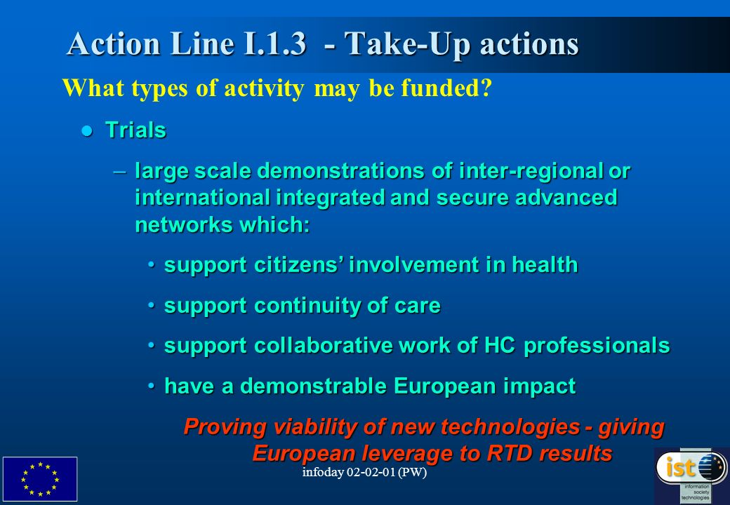 infoday 02-02-01 (PW)6 Action Line I.1.3 - Take-Up actions Action Line I.1.3 - Take-Up actions What types of activity may be funded.