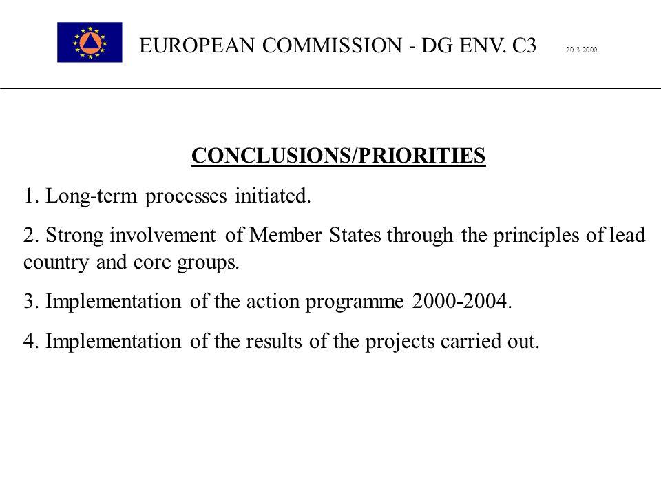 EUROPEAN COMMISSION - DG ENV. C3 20.3.2000 CONCLUSIONS/PRIORITIES 1.