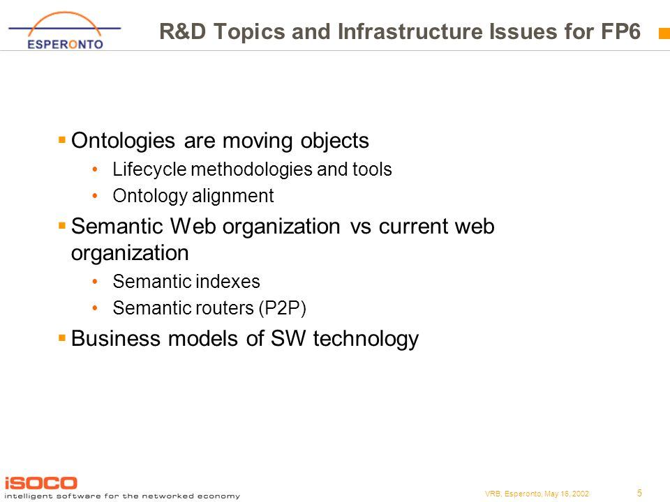 5 VRB, Esperonto, May 16, 2002 R&D Topics and Infrastructure Issues for FP6 Ontologies are moving objects Lifecycle methodologies and tools Ontology alignment Semantic Web organization vs current web organization Semantic indexes Semantic routers (P2P) Business models of SW technology