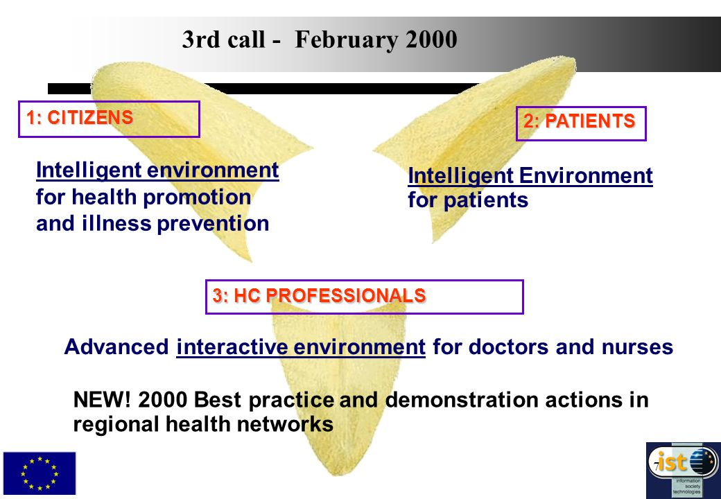 7 2: PATIENTS 1: CITIZENS Advanced interactive environment for doctors and nurses Intelligent Environment for patients 3: HC PROFESSIONALS 3rd call - February 2000 Intelligent environment for health promotion and illness prevention NEW.