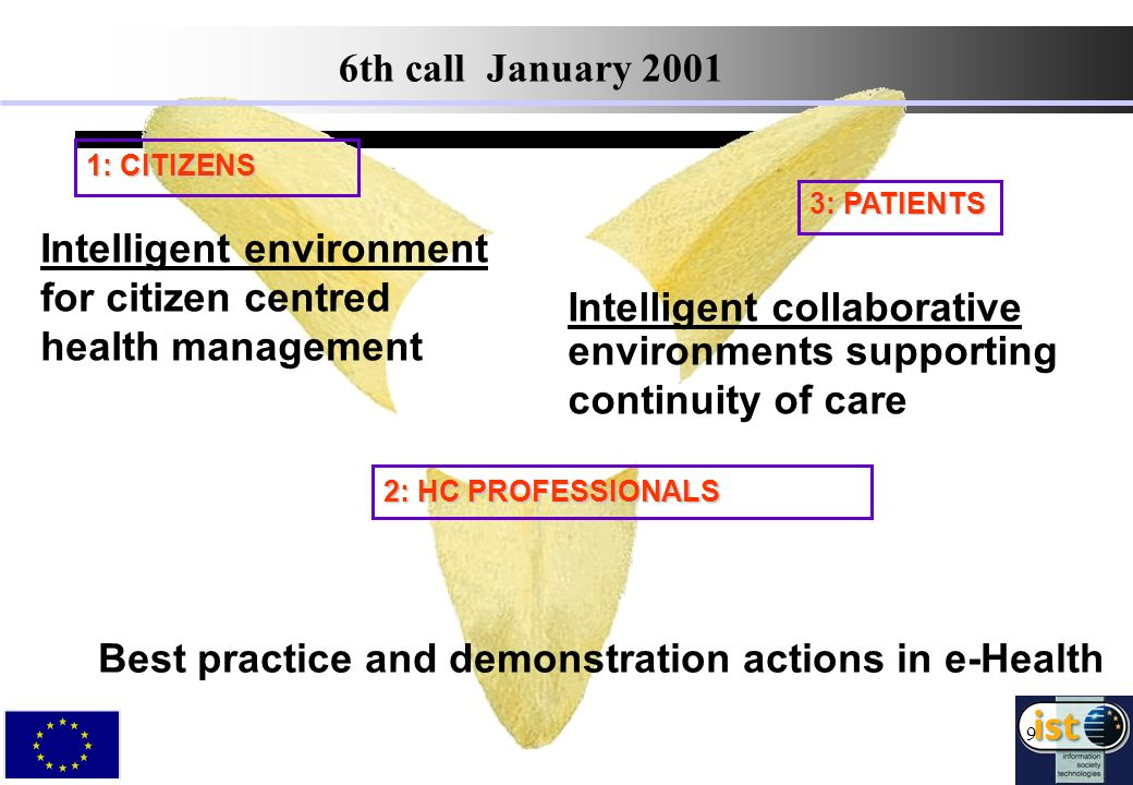9 3: PATIENTS 1: CITIZENS Intelligent collaborative environments supporting continuity of care 2: HC PROFESSIONALS Intelligent environment for citizen centred health management Best practice and demonstration actions in e-Health 6th call January 2001
