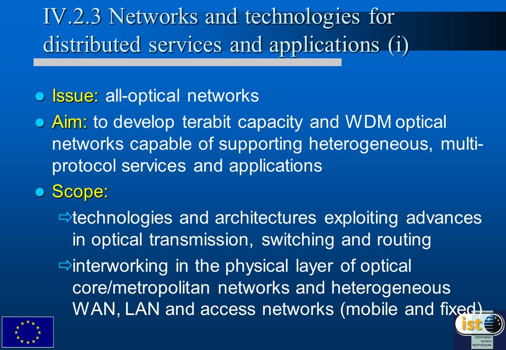 IV.2.3 Networks and technologies for distributed services and applications (i) Issue: Issue: all-optical networks Aim: Aim: to develop terabit capacity and WDM optical networks capable of supporting heterogeneous, multi- protocol services and applications Scope: Scope: technologies and architectures exploiting advances in optical transmission, switching and routing interworking in the physical layer of optical core/metropolitan networks and heterogeneous WAN, LAN and access networks (mobile and fixed)