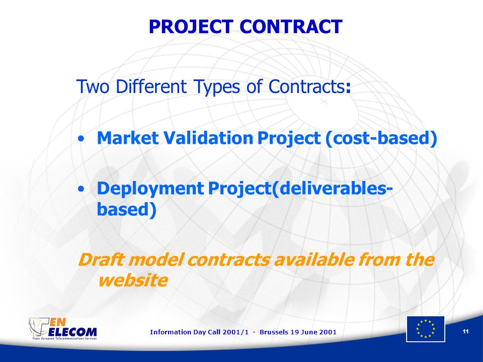 Information Day Call 2001/1 - Brussels 19 June 2001 11 PROJECT CONTRACT Market Validation Project (cost-based) Deployment Project(deliverables- based) Draft model contracts available from the website Two Different Types of Contracts:
